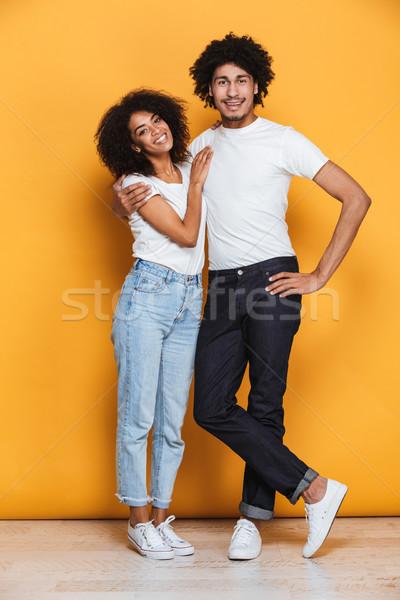 肖像 幸せ アフロ アメリカン カップル ストックフォト © deandrobot