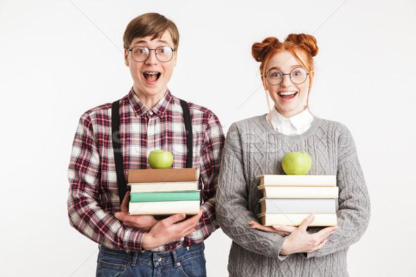 Szczęśliwy para szkoły książek Zdjęcia stock © deandrobot