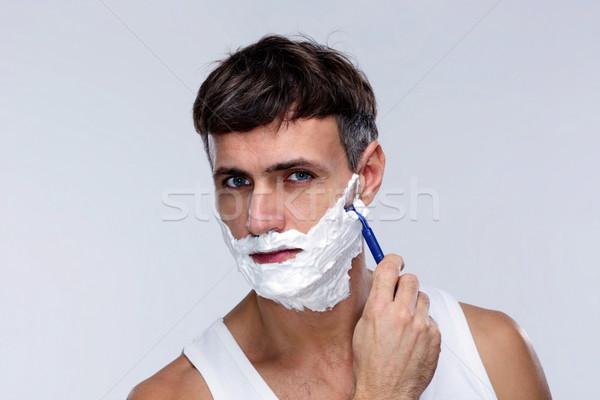 Portré férfi szürke szex arc egészség Stock fotó © deandrobot