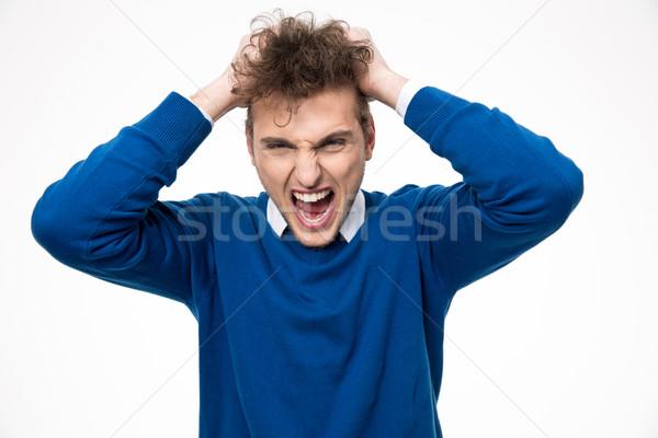 портрет сердиться человека прикасаться вьющиеся волосы Сток-фото © deandrobot