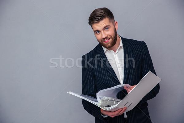 Foto stock: Empresário · leitura · documento · dobrador · retrato · feliz