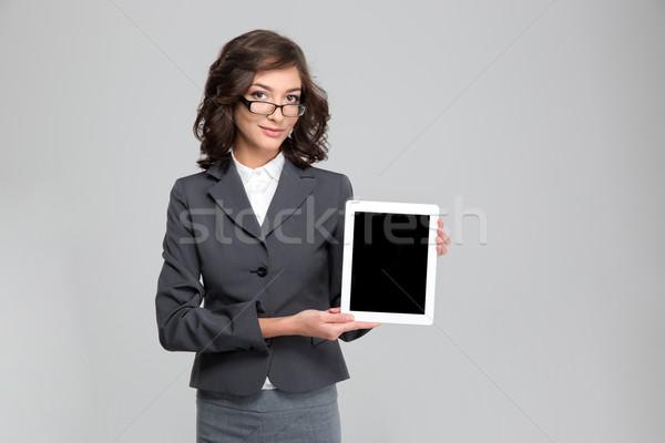 Pretty woman okulary ekranu dość Zdjęcia stock © deandrobot