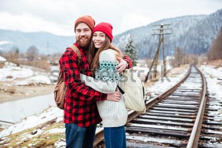 Casal foto ferrovia feliz homem Foto stock © deandrobot