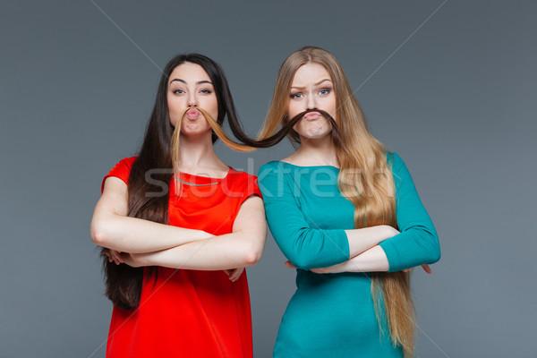 Komik bıyık saç gri Stok fotoğraf © deandrobot