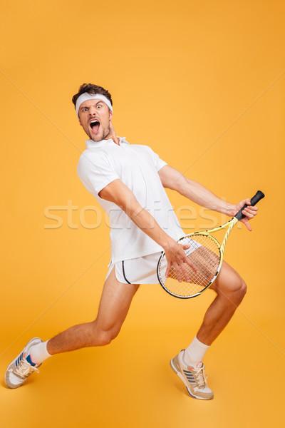 Man tennisspeler racket zingen spelen gitaar Stockfoto © deandrobot