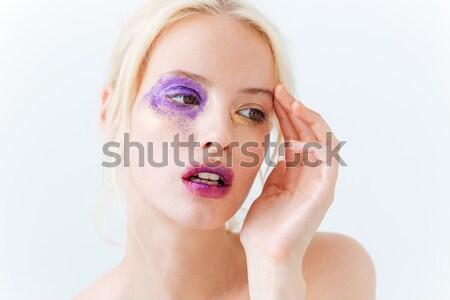 Beauty portrait of pretty girl with stylish purple makeup Stock photo © deandrobot