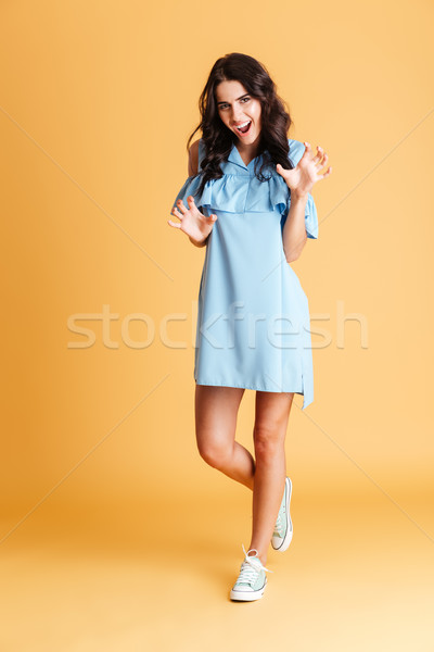 Playful brunette woman in dress posing and gesturing with hands Stock photo © deandrobot