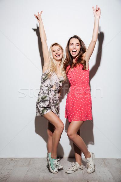Retrato dos feliz mujeres vestidos Foto stock © deandrobot