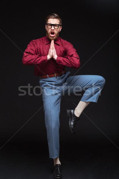 Verticaal afbeelding mannelijke vechter nerd bril Stockfoto © deandrobot