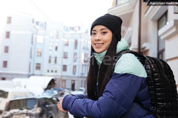вид сбоку азиатских женщину одежды рюкзак Сток-фото © deandrobot