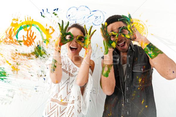 Paar handen vuile grapje vrolijk Stockfoto © deandrobot