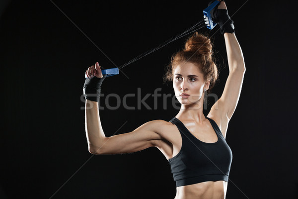 Młodych kobiet myśliwiec strony fitness portret Zdjęcia stock © deandrobot