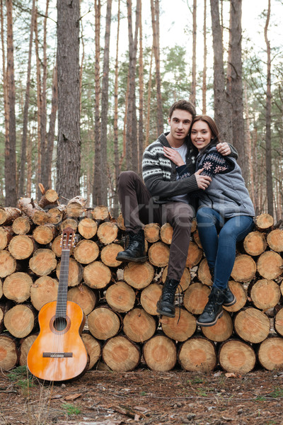 couple on logs Stock photo © deandrobot