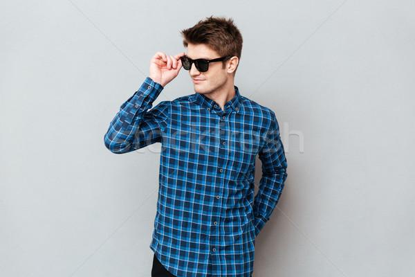 Foto stock: Alegre · homem · óculos · de · sol · imagem · jovem