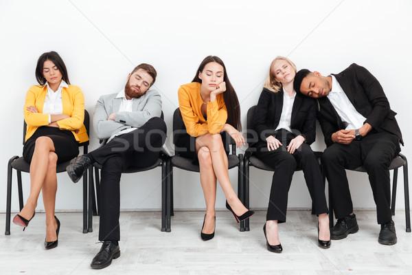 Müde Kollegen Sitzung Büro schlafen Bild Stock foto © deandrobot