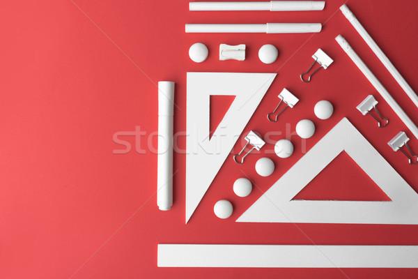 Stock fotó: Felső · kilátás · kép · irodaszerek · piros · asztal