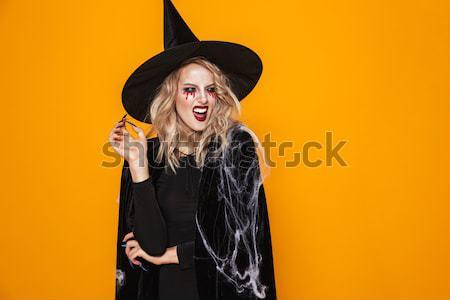 Kadın halloween kostüm kabak Stok fotoğraf © deandrobot