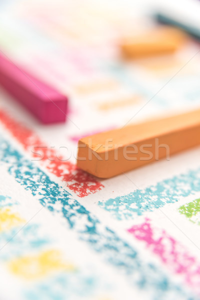 Cropped photo of  pieces of chalk Stock photo © deandrobot