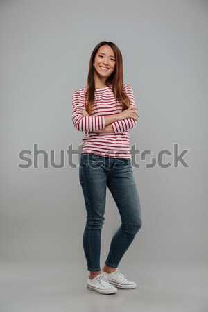 Full length image of pretty asian woman in sweater Stock photo © deandrobot