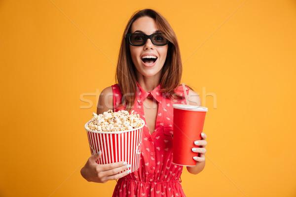портрет счастливым женщину 3d очки Сток-фото © deandrobot