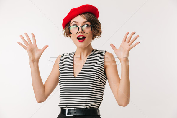 портрет женщину красный берет Сток-фото © deandrobot
