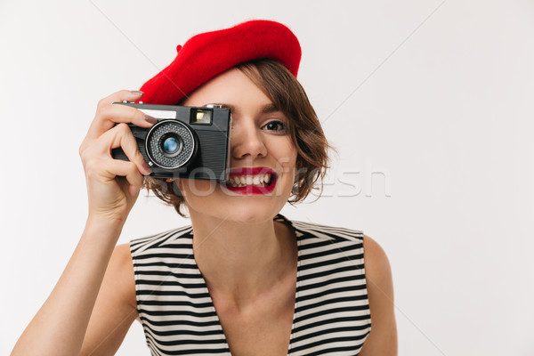 Portrait femme souriante rouge béret Photo stock © deandrobot