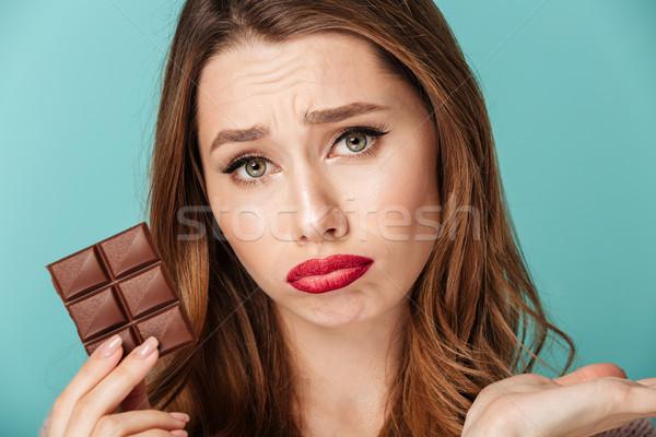 Retrato chateado marrom mulher brilhante Foto stock © deandrobot