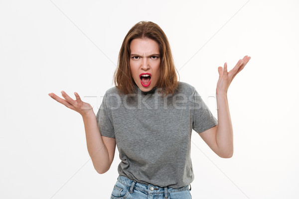 Colère hurlant jeunes dame photo Photo stock © deandrobot