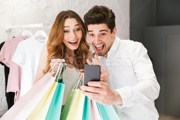 Foto stock: Alegre · compras · roupa · juntos · roupa