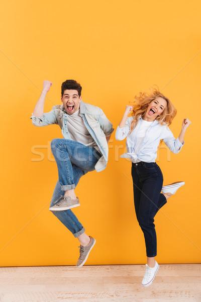 Foto glücklich schreien Überraschung Stock foto © deandrobot