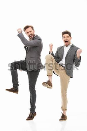 Retrato dois feliz homens de negócios Foto stock © deandrobot