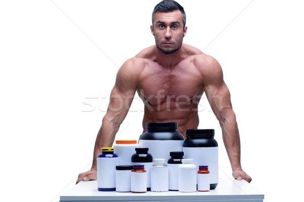 肖像 筋肉の 男 スポーツ 栄養 ストックフォト © deandrobot