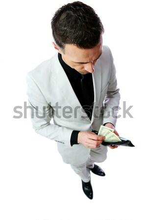 портрет бизнесмен долларов изолированный белый Сток-фото © deandrobot