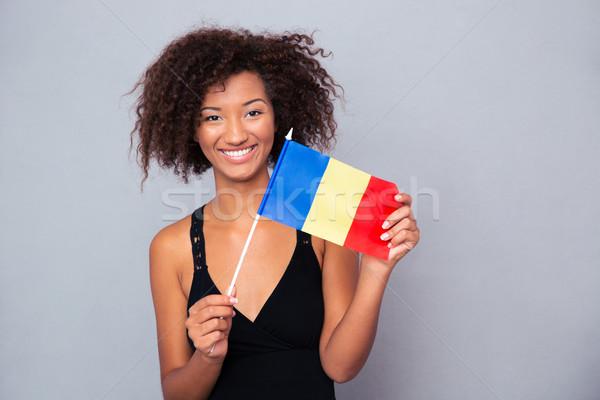 Afro amerikaanse vrouw roemeense vlag Stockfoto © deandrobot