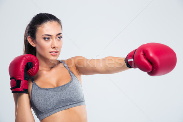 Stock photo: Portrait of fitness woman boxing in gloves