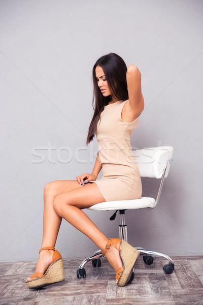 Kadın oturma ofis koltuğu portre genç kadın bilgisayar Stok fotoğraf © deandrobot