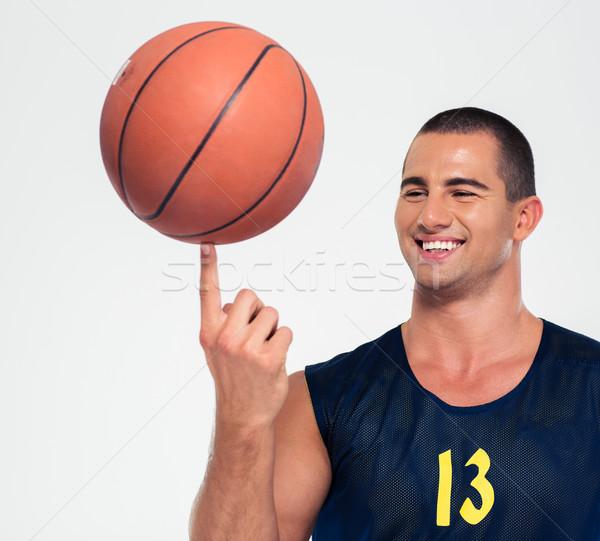 Porträt glücklich Mann Basketball Ball isoliert Stock foto © deandrobot