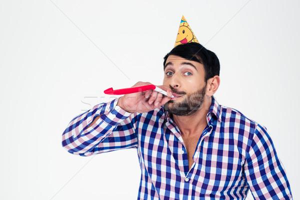 Homem assobiar retrato festa seis Foto stock © deandrobot