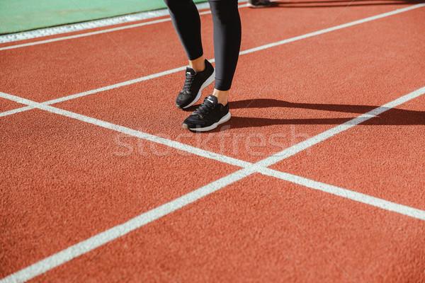 女性 ランナー 脚 スタジアム クローズアップ 肖像 ストックフォト © deandrobot