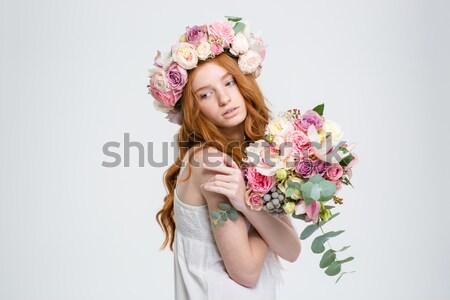улыбаясь Cute женщину венок роз портрет Сток-фото © deandrobot