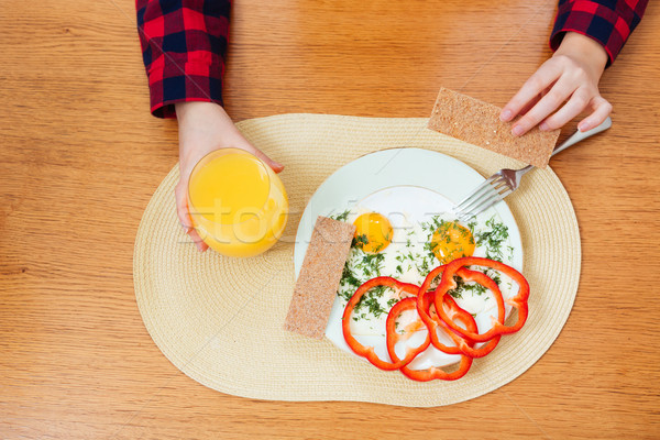 Plate with fried eggs eaten by woman for breakfast Stock photo © deandrobot