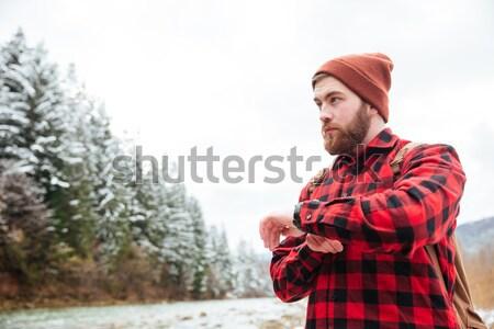 Przystojny brodaty człowiek kolej żelazna drogowego góry Zdjęcia stock © deandrobot