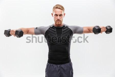 путать молодым человеком пушки Плечи стороны черный Сток-фото © deandrobot