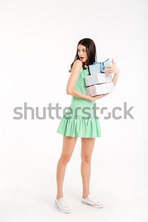 Güzel gülümseyen kadın mavi elbise su Stok fotoğraf © deandrobot