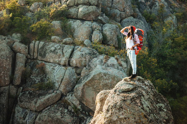 Avontuur vrouw canyon rock sport Stockfoto © deandrobot