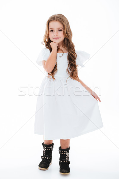 Joli charmant petite fille robe permanent posant Photo stock © deandrobot