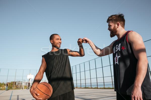 Due felice pugno basket gioco parco giochi Foto d'archivio © deandrobot