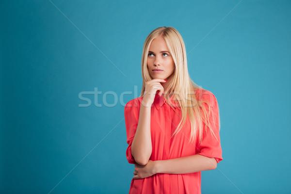 Portre dalgın kız kırmızı elbise güzel Stok fotoğraf © deandrobot