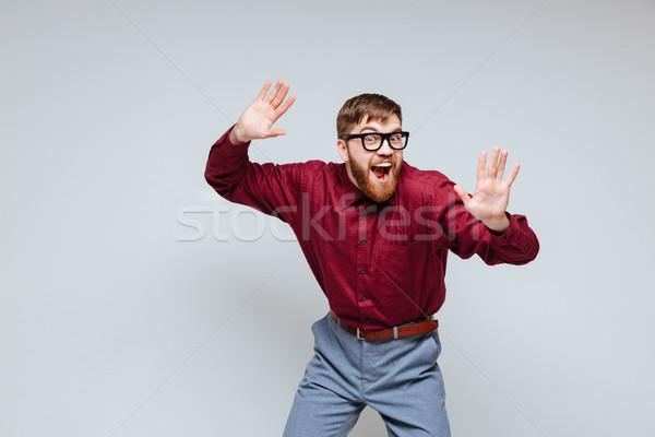 Engraçado masculino nerd dança estúdio óculos Foto stock © deandrobot