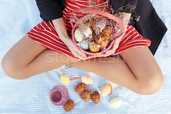 Close up portrait of woman holding easter basket Stock photo © deandrobot